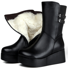 2017 Winter Snow Boots Black Genuine Leather Mid Calf Boots Warm Fur Insole 7 CM Wedge Heel Shoes Plus Size Motorcycle Boots