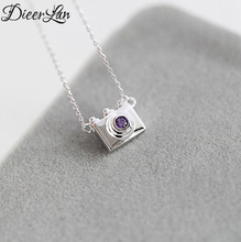 925 Sterling Silver Vintage Camera Necklaces & Pendants For Women Fashion Purple Crystal Jewelry