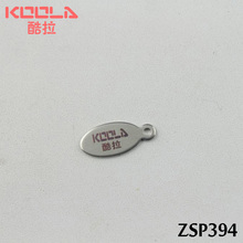steel color tags laser engraving LOGO medium ellipse stainless steel label tail chain pendant jewelry parts 200-500pcs  ZSP394