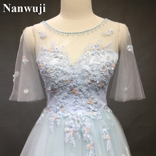 Buy Wedding Dress robe de mariee Real Photo Wedding Gowns A-Line Half Sleeves Wedding Dresses Light Blue Tulle vestido de noiva 2017 for $216.00 in AliExpress store