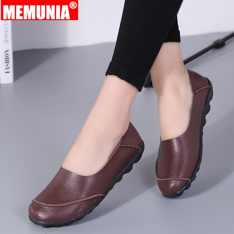 MEMUNIA Female Shoes Loafers Women Flats Slip-On Oxfords Round-Toe Big-Size Genuine-Leather