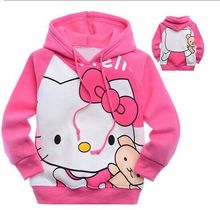 fashion kid baby girls children top clothing cotton velvet plus hello kitty cartoon character hoodies sweatshirts outerwears