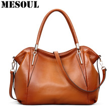 Vintage Women's Handbags Soft Genuine Leather Tote Crossbody Bag High Quality Cow Leather Shoulder Bags Female Brown Hand Bag