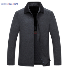 Mu Yuan Yang Middle-aged Woolen Jackets 50% Off Men' s Jackets & Coats 2017 Autumn and Winter For Male Wool Overcoat(China)