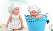 Cute Baby White Cook Costume Photo Photography Prop Newborn Infant Hat Apron Chef Clothes For Kids