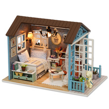 CUTE ROOM LED DIY Building Blocks Set Doll Miniature Furniture Assembled House Wood Figure Kids Birthday Creative Gift GH552(China)