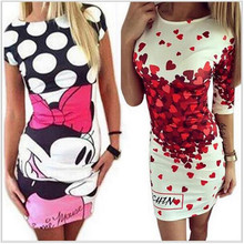 2017 New Summer Dresses Fashion Women Clothing Robe Sexy Cartoon Bodycon Miki Print ONeck Mini Casual Sheath Dresses Vestidos