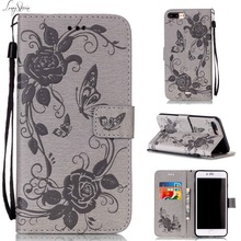 [Long Steven] For iPhone 7 Plus Case Butterfly Flower Duplex Printing Leather Wallet Kickstand Cover For iPhone 7 Case Funda(China)