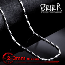 Beier stainless steel necklace melon seed new twist 2mm/3mm trendy chain necklace boy man necklace chain Silver Color BN1024