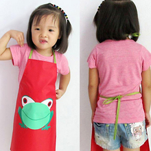 2015 Hot Sale Cute Kids Children Waterproof Aprons anti-stain Apron Cartoon Frog Printed Painting Retail/Wholesale