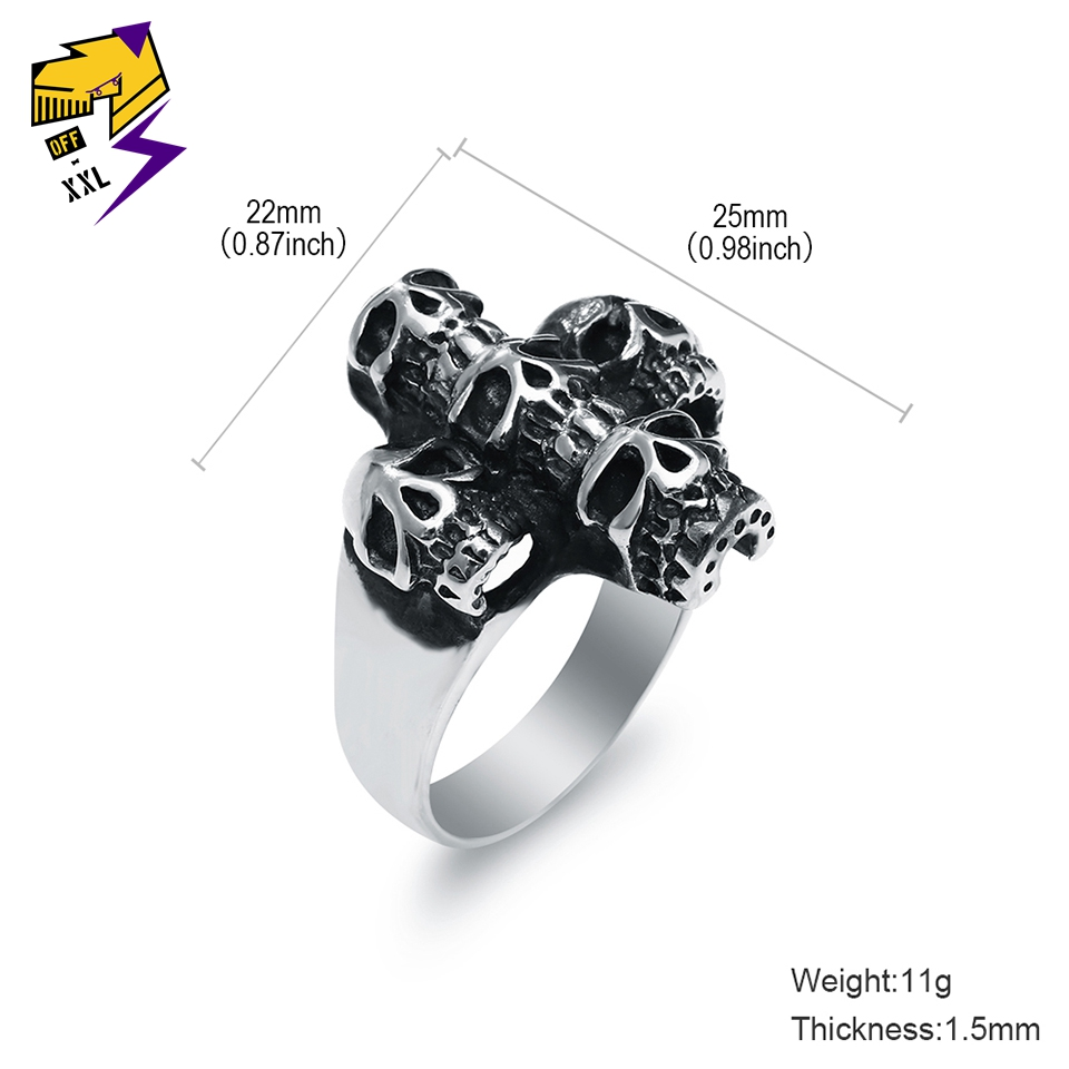 Stainless Steel 2 Color Music Note Cross Square Biker Ring