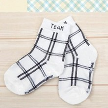 Baby Boys Infant Cotton Plaid Socks Anti-slip Children\'s Fashion Retro Socks