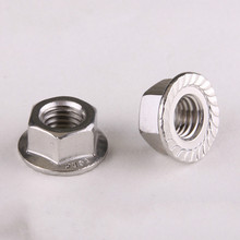 20PCS 304 Stainless Steel Flanged Hex Nut Flange Nuts M6 DIN6923(China)