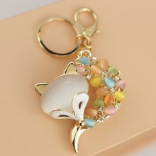 Free Shipping! New 2014 Sexy and Cute Opal Fox Bag Key Chain Bag Key Ring Valentines Gifts Wholesale Promotion(China)