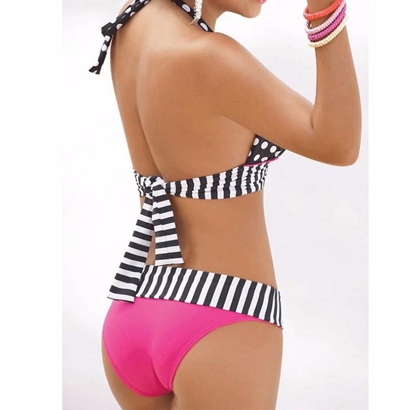 StarHonor Woman Brazilian Retro Polka Dot Halter Two-piece Suits Bra Bikinis Set Stripe Bathing Suit Swimwear Plus Size S-4XL 7