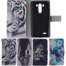 Cool Tiger Lion Owl PU Leather Case For LG G3 D855 D850 D851 D852 With 2 Card Holder Stand Wallet Case Cover For LG G3 Flip Case