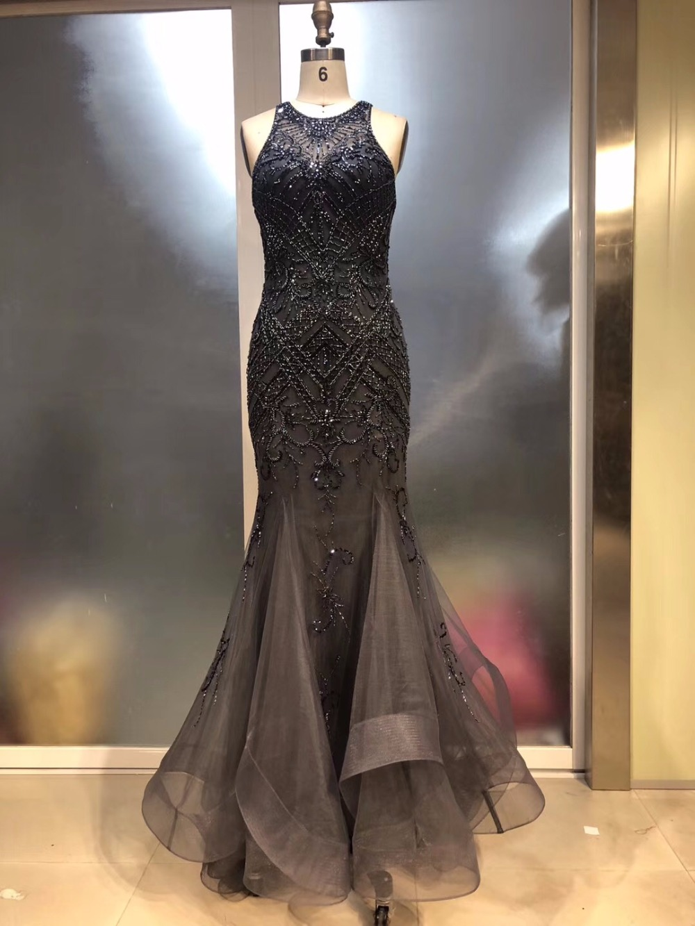 New Elegant Halter Evening Dress 2019 Dark Gray Beaded Mermaid Prom Dresses Sleeveless Women Party Gown(China)