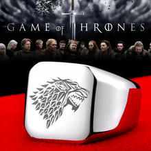 Steel soldier stainless steel men movie style game of thrones fashion popular ring ice wolf men titanium steel jewelry(China)