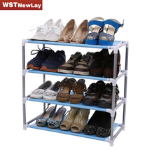 Modern Living Room Furniture Portable Shoe Racks Folding Multilayer Non Woven Fabric Combination Dustproof Stainless Shoes Shelf