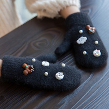 Autumn Winter Cute Mickey Girls Gloves Cartoon Rabbit Fur Wool Mitten Gloves Sweet Elegant  Kids Gloves Christmas Gifts