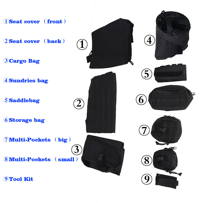 Front Seat Cover Storage Bags Multi Pockets Tool Saddle Bag For Jeep Wrangler JK 2007-2017 Multifunctional Cargo Pouches KOLEROADER (4)