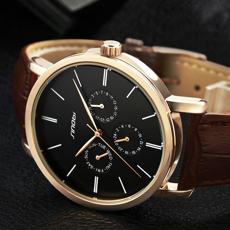 SINOBI 2017 New Fashion Leather Quartz Watch Men High Quality 3 Small Dial Business Mens Watch Top Luxury Relogio Masculino<br><br>Aliexpress