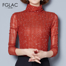 FGLAC women clothing New Arrivals 2017 Autumn Long sleeved Mesh tops Elegant Slim Turtleneck women t-shirt Plus size women blusa(China)