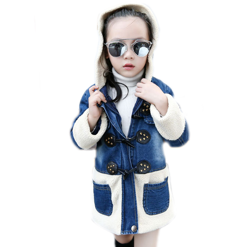 winter jacket baby girl 2017 winter jackets coat patchwork hooded children winter coats jeans buttons and rivets girl outerwear Îäåæäà è àêñåññóàðû<br><br>