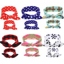 2Pc/Set DIY Mom Mother & Girl Rabbit Ears Headband Plaid Bow Hairband Turban Knot Headwrap Hair Band Accessories