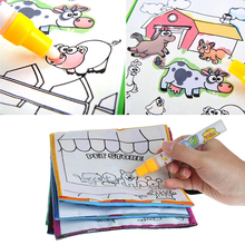 2017 Kids Magic Water Drawing Book With Pen Animal Coloring Water Painting Cloth MAR2_30(China)