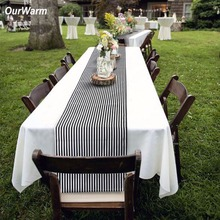 Ourwarm Black & White Striped Table Runner for Home Decor 35*182cm Modern Geometric Table Topper Hotel Bed Runner Party Supplier(China)