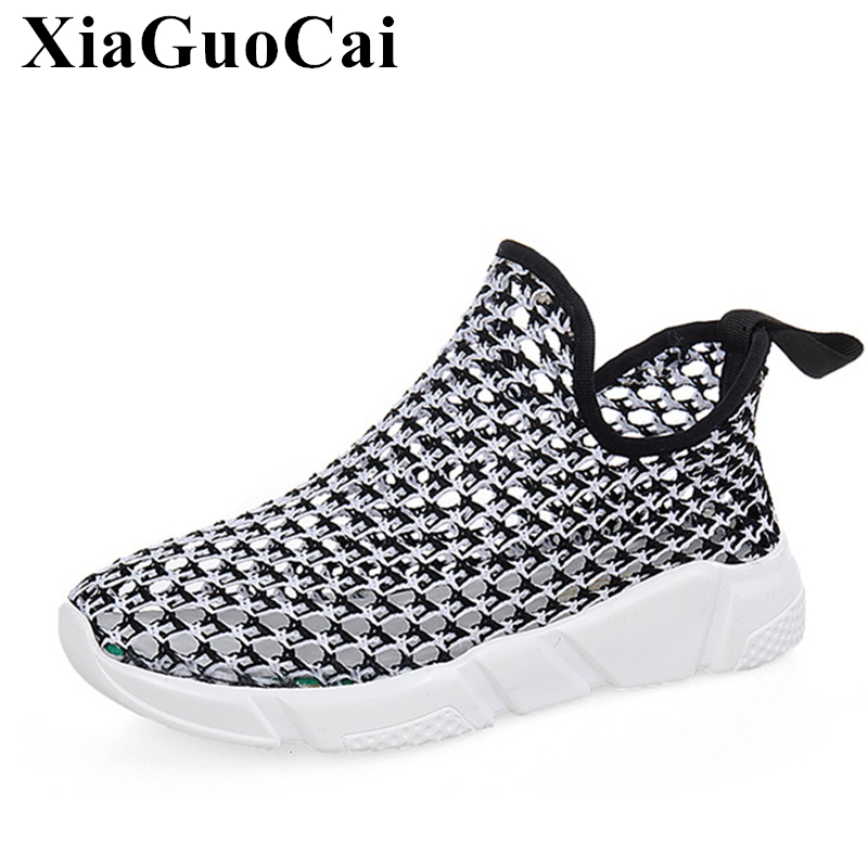 New Summer Womens Shoes Fashion Hollow Weaving Slip-on Causal Shoes Breathable Non-slip Platform Flats Shoes Student H320 35<br>