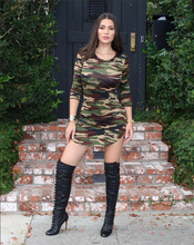 2017 Fashion Women Battle Fatigues Full Sleeve Dress Green Camouflage uniforms Elastic Pencil Bodysuits Robes Costume Apparel