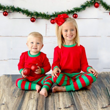 Christmas Childrens Sets Baby 2017 Striped Outfits Kids Cotton Jumper T-shirts with Striped Pants Kids Autumn Pajamas