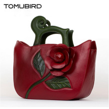 TOMUBIRD new superior cowhide leather Designer Inspired Flower Ladies Handmade Leather Tote Satchel Handbags