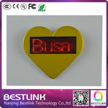 nimi business card led name card tag red color, heart-shaped name badge, magnetic and programmable, muti-language