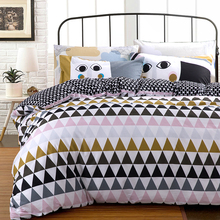 Nordic Style Cotton duvet cover set bedding set 4 pcs:duvet cover sheet pillowcase twin full queen single double size freeship