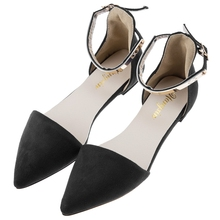 New 2017 Fashion women Sexy Suede women flats shoes Sexy Pointed toe women low heels Belt Design shoes woman(China)