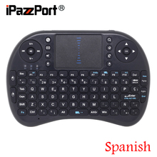 [Free Shipping] Mini 2.4G Wireless Spanish(Espanol) Keyboard+Air Mouse+TouchPad for Google Android TV Box/PC High Quality(China)