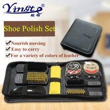 9 unids set profesional cuidado herramienta cepillo-polaco calzador  práctica brillo polaco limpieza Set PU cuero zapatos limpiad. d40d925f98a3