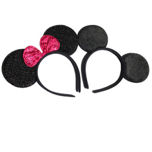12pcs Hair Accessories Mickey Minnie Mouse Ears Headbands Black & Rose Red Sequins Bow Boy and Girl Headwear for Birthday Party