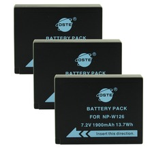 DSTE 3PCS NP-W126 NP-W126S Battery for Fuji HS50 HS35 HS33 HS30EXR XA1 XE1 X-Pro1 XM1 X-T10 Camera