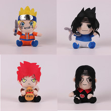 Anime Naruto Figures Plush Toys Kawaii Naruto Uchiha Sasuke Stuffed Doll Cool Kids Cartoon Gift 4pcs/lot(China)
