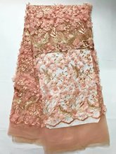 Peach Nigeria Lace 2017 Design Panic Buying African Net Lace Fabric For Party Hojilou 3d Tulle Lace Fabric with Beads