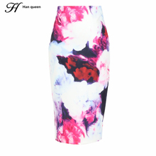 S-3XL New 2016 Fashion Women Slim Skirts Fitted Knee Length Runway Pencil Skirt High Waist Printed Summer Bodycon Wrap Skirts(China)