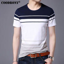 Buy COODRONY O-Neck Cotton Tee 2017 Spring Summer New Casual Short Sleeve T Shirt Men Brand Clothing Big Striped T-Shirt Homme S7638 for $14.28 in AliExpress store