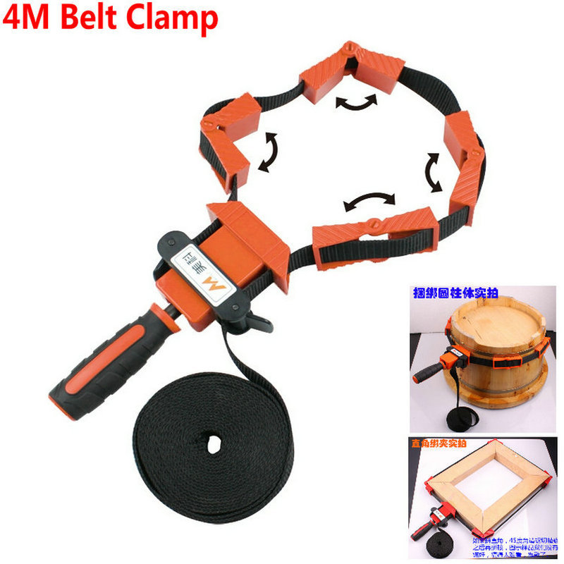 NYLON Material Multi-Function Binding Woodworking Tool Belt Clamp Polygons Angle Clip With 4M Long Belt And TPR Non Skip Handle<br><br>Aliexpress