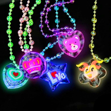 Hot Sale Flashing Necklace Soft Rubber Led Toys Cartoon Funny Light Up Toys Party Celebration Gifts For Kids Children