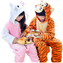 Children girls hello kitty onesie pajamas pyjama Animal tigger onesies Kids jumpsuit cosplay costume Flannel Cartoon Sleepwear