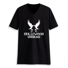 Hollywood Undead Pigeon Letter Print T-shirt V Neck Man Tshirt Tee Shirts Clothes Black T Shirt Male Clothing Rap Hip Hop(China)
